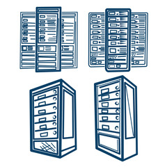 Server Rack.Sketch style Vector of Server Rack. Lines scheme.