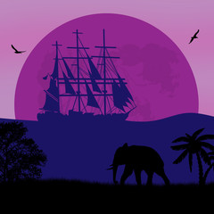 Elephant silhouette near ocean and old ship