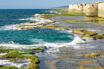 View on a fortification of old arabic city Akko