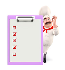 Young chef with notepad