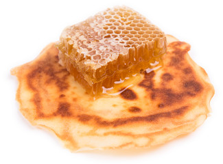 honeycombs are on fried pancake