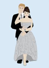 coppia di sposi abbracciati, isolati