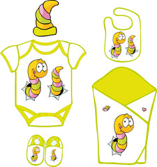 Cute Baby Layette with cute caterpillar and butterfly
