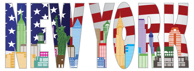New York Skyline Text Outline Vector Illustration