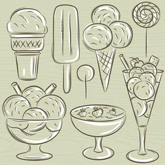 set of different  ice cream, vector