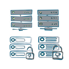 Server Icon. Sketch style Vector of Server Icon. Color scheme.