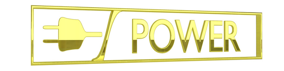 gold power icon - 3D render
