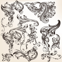 Collection of vector decorative swirl elements in vintage style