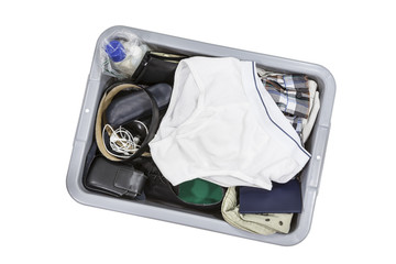 Airport screening tray with underwear.
