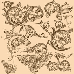Collection of vector swirl elements in vintage style