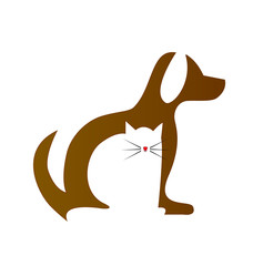 Dog and Cat silhouettes unity icon logo vector