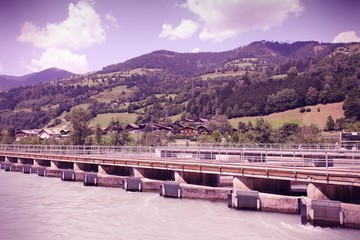 Hydroelectric station in Austria. Cross processing color tone.