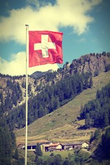 Flag of Switzerland. Cross processing color tone.