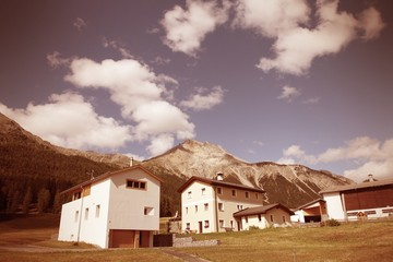 Switzerland - Graubunden region. Val Mustair. Cross processing c