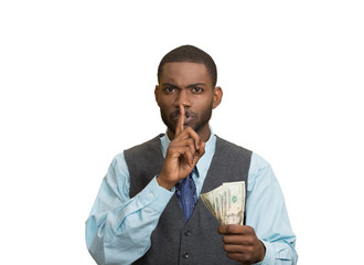 Bribery man with dollar, quiet gesture, white background