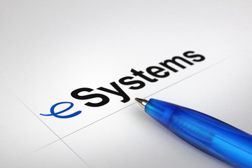 eSystems. Written on white paper