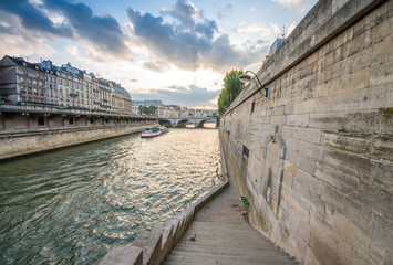Paris. Wonderful view of cityscape along Seine river with bateau