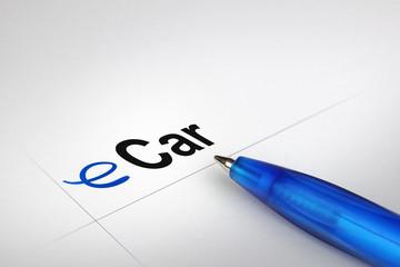 eCar. Written on white paper
