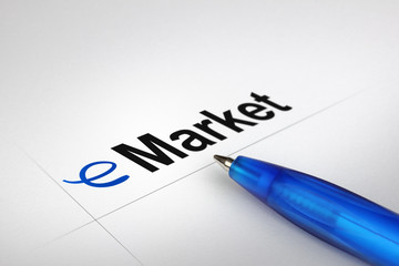 eMarket. Written on white paper