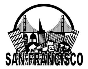 San Francisco Skyline Golden Gate Bridge Black and White Illustr