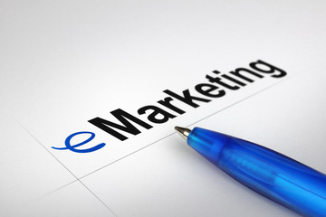 eMarketing. Written on white paper