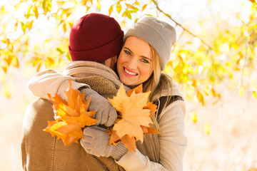 couple in autumn forest
