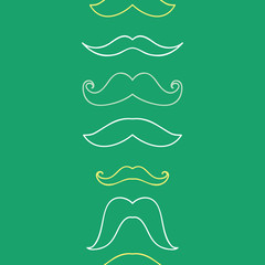 Line art mustaches vertical seamless pattern background