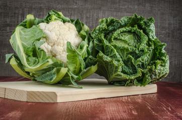 Cauliflower and savoy cabbage