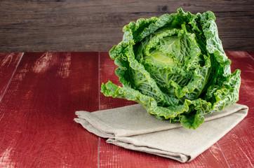 Savoy cabbage closeup