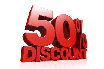 3D render red text 50 percent discount