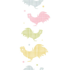 Abstract textile roosters vertical seamless pattern background