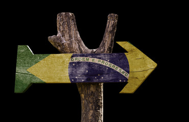 Brazil wooden sign isolated on black background