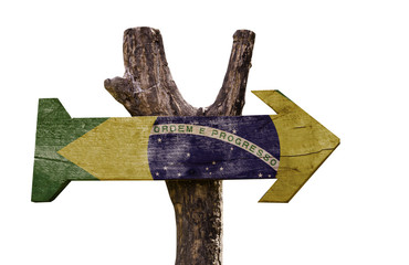 Brazil wooden sign isolated on white background