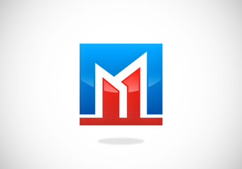 M letter building construction logo