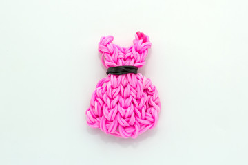 Pink elastic rainbow loom bands dress shaped