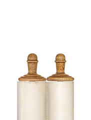 Closed rolled Torah scroll isolated on white. Copyspace.