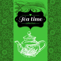 Tea vintage background. Hand drawn sketch illustration