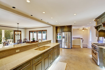 Luxury khaki kitchen interior with spaciuos dining area