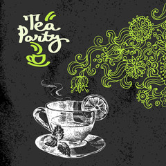 Tea vintage background. Hand drawn sketch vector illustration