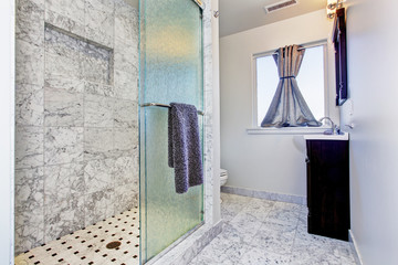 Bathroom interior in granite tile