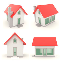 Red 3D house icons in different angle set 1
