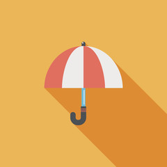 umbrella flat icon with long shadow