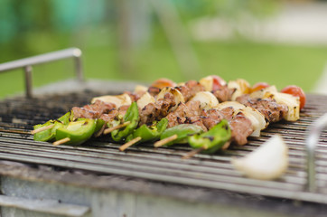Grilled barbecue meat and vegetable