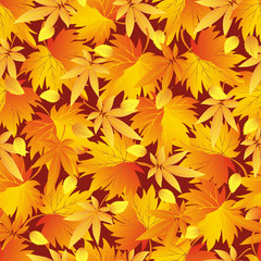 Seamless pattern with yellow, orange, red autumn leaves