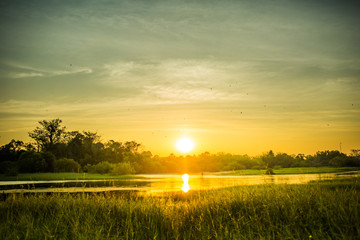 Small lake view with sunset.