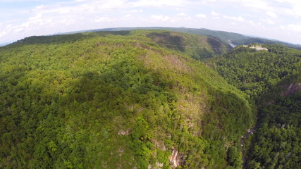 Aerial footage Smokey Mountains Tennessee