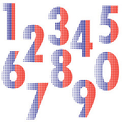 Halftone number alphabet font style