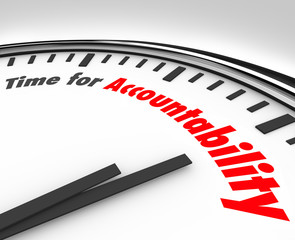 Time for Accountability Words Clock Take Responsibility