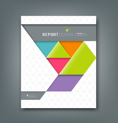 Cover report colorful origami paper triangle background