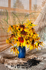 rudbeckia bouquet near the window